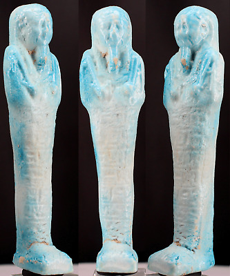 Egyptian blue faience Shabti - ca. 12,5cm.