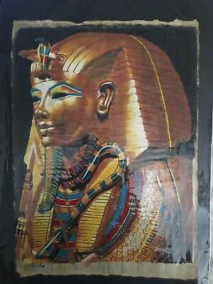 High quality DARK genuine Hand Painted Egyptian Papyrus King TUTANKHAMON,