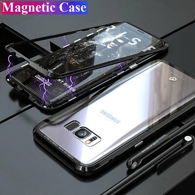 360° Metal+Glass Hybrid Armor Cover for Samsung S8 S9 Plus Magnetic Case+6D Film