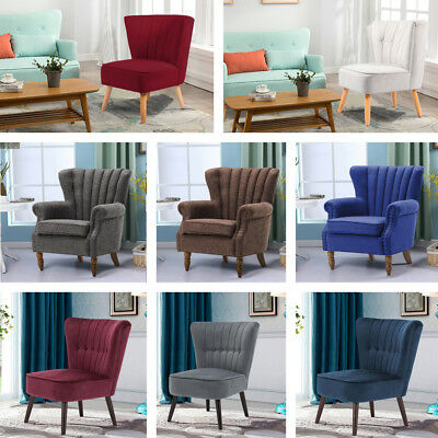 Modern Retro Antique Vintage Accent Chair Linen Fabric Armchair Sofa Footstool