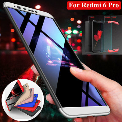 For Xiaomi Redmi 6Pro/S2 Case 360 Shockproof Hybrid Armor Phone Cover+Glass Film