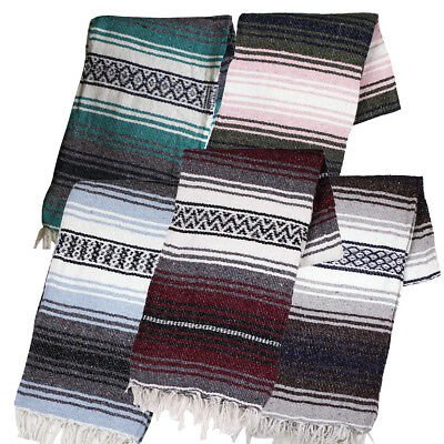 "Two (2) Falsa Blankets - Authentic Mexican 74"" x 50"" Random colors"