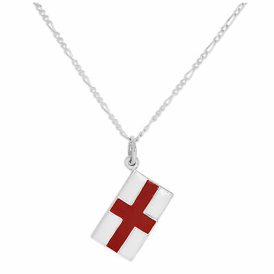 Sterling Silver English Flag Necklace 14 - 32 Inches