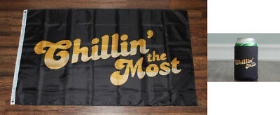 Chillin' the Most Banner Flag & Beer Koozie Coozie Set Chilling Kid Rock Chilin