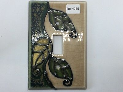 (BA-1365) Ceramic Leaf Single Light Switch Plate Cover