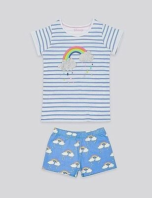 Ex store Marks & Spencer 9-12 months girls rainbow short pyjama set Brand New