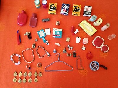 Vintage Lot Miniature Doll Accessories Household Items Jewelry