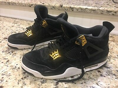ac2a5ab72b78 Jordan 4 Retro Royalty Black Metallic Gold White Sz 9 308497-032 Basketball  Shoe