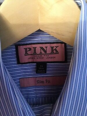 Thomas Pink Shirt Size 15 Slim Fit Removable Bone In Collars Blue Vgc