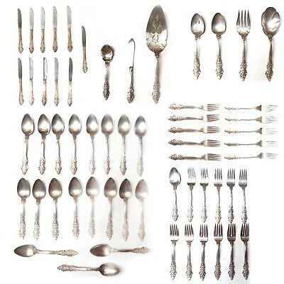 Lot of 59 Antique 1847 Intricate Design ROGERS BROS. IS Silverplate Flatware Set