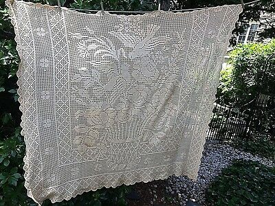 Antique TableCloth Cover Hand Crochet Lace Cotton Basket of Flowers Bird  54x62