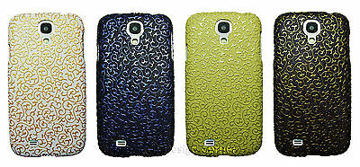 Embossed Vintage Pattern Flower Hard Case For Samsung Galaxy S4 Black White Gold