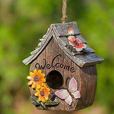 Bird House Welcome Decorative Hand Painted Hanging Birdhouse Made Of Polyresin