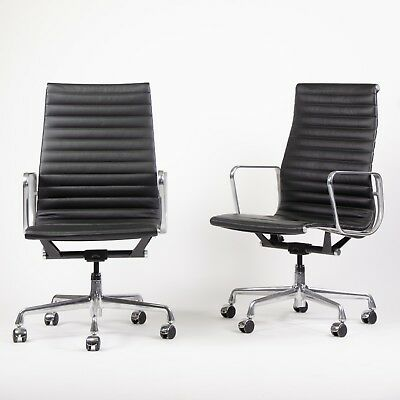 2009 Eames Herman Miller Leather High Executive Aluminum Group Desk Chairs  2x