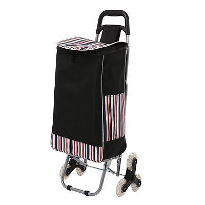 Folding Shopping Cart 6 Wheels Suitable For Climbing Stair Stainless Steel Black
