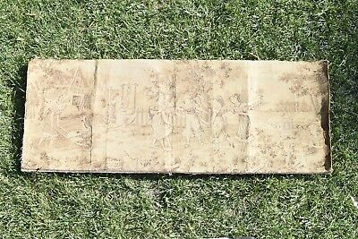 """Antique TAPESTRY WALL HANGING GIRLS PLAYING GAMES 17.75"""" X 47.25"""" OLD #04405"""