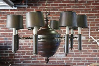 Antique Brass and Wood Chandelier
