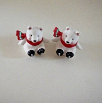 2 Vintage Hallmark Merry Miniature Polar Bear Ice Skating  Figurines 1994