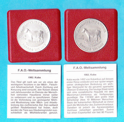 2 FAO - Münzen Spanish West Indies  5 / 1 Peso  Ag / Ku/Ni Rind 1982 rar