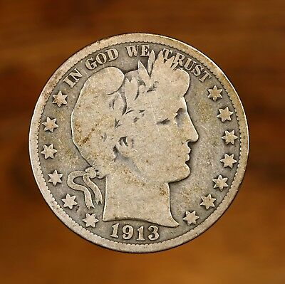 Raw 1913 Barber 50C Uncertified Ungraded Philadelphia Silver Half Dollar Coin