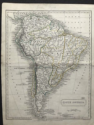 Antique Map SOUTH AMERICA c1826 by Sidney Hall original outline color