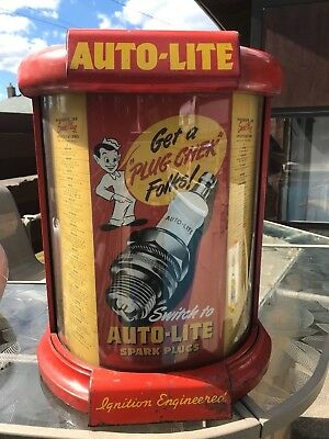 Vintage Rare auto-lite spark plug counter display 1934 to 1946