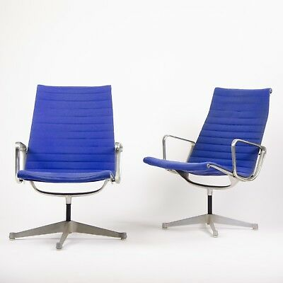 2x Rare Original Blue Eames Herman Miller Aluminum Group Lounge Chairs, Fabric