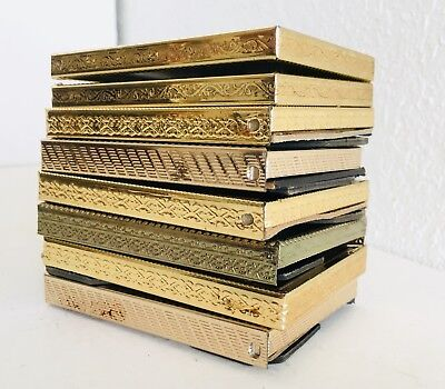 """Lot of 8 Small Mini 2.5"""" Picture Frames Gold Brass Floral Vtg Wedding Home Decor"""