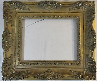 Antique Impressionist Gold Wood Frame with Gesso Sculpture Edges 22 x 19 Gilded