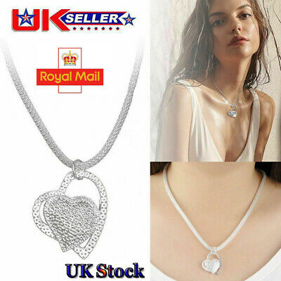 Fashion Double Heart Pendant Necklace 925 Sterling Silver Chain Womens Jewellery