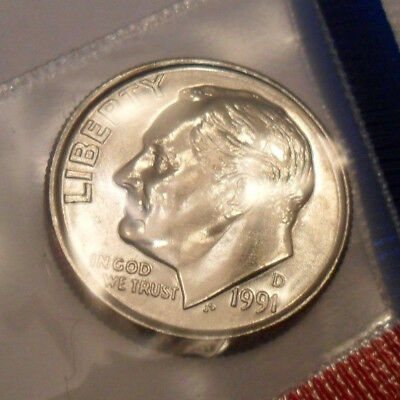 1991 D Roosevelt Dime  *MINT CELLO*   **FREE SHIPPING**