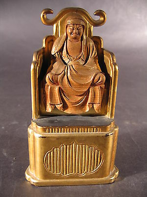 Antique Japanese Seated Wood Buddha Monk Gold Leaf Black Lacquer Zen
