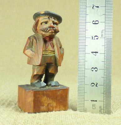 ANRI Carved Wooden MINIATURE FIGURINE - GENTLEMAN with large MOUSTACHE