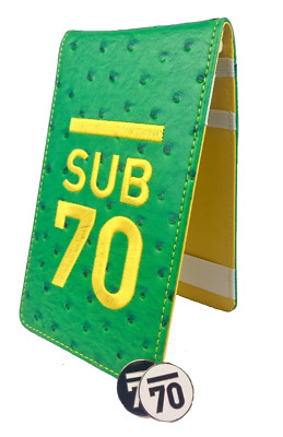 New Sub70 Golf Tour Flip Yardage Book Scorecard Holder & Pencil - Green & Yellow