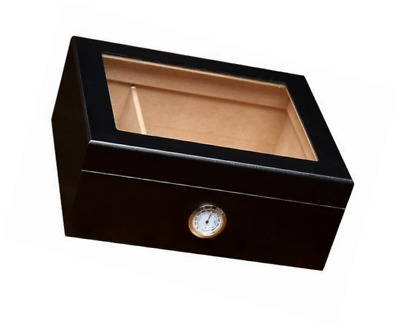 Cigar Box Humidor Black Humidifier Hygrometer Glass Top Cedar Wood Travel Case