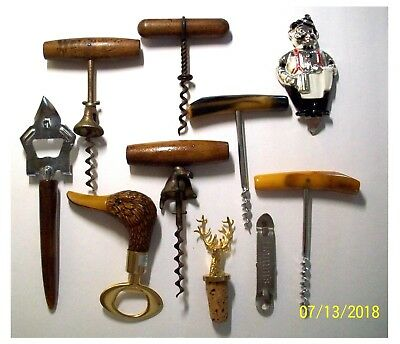 Lot 10 Vintage Beer Wine Openers Corkscrews Comoys Bakelite   Wood Metal Welch