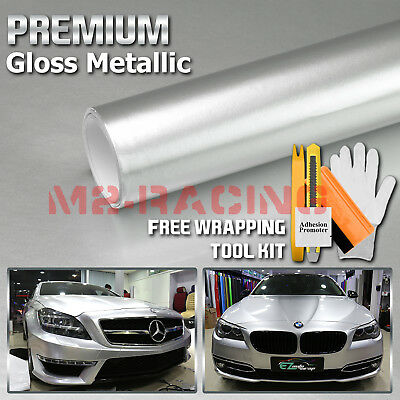 *Premium Silver High Gloss Metallic Glossy Sticker Decal Vinyl Wrap Air Release