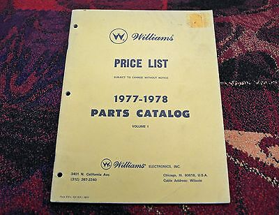 ORIGINAL Williams Price List ~ 1977-1978 Parts Catalog Volume 1 - Rare / Useless