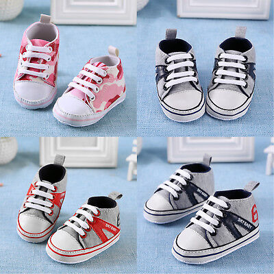 Newborn Infant Baby Boys Girls Soft Sole Crib Shoes Anti-slip Sneaker Prewalker
