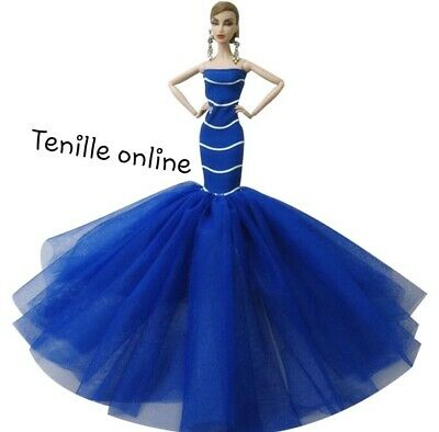 New Barbie doll clothes outfit  princess wedding gown dress dark blue shoes
