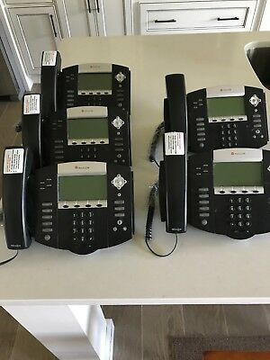 LOT OF 5 Polycom SoundPoint IP550 SIP VOIP Phones W/ Handset and Stand
