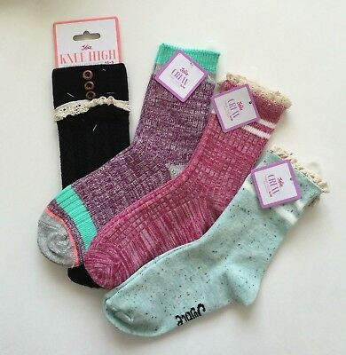 Justice Girls Crew Socks + Knee High Lot of 4 Size Small Medium NWT