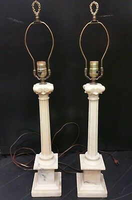Pair alabaster marble column table lamps mid century modern 29 12 pair alabaster marble column table lamps mid century modern 29 12 aloadofball Images