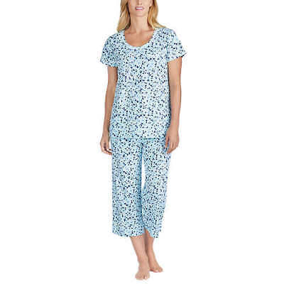 NEW CAROLE HOCHMAN Cotton Capri 2 Piece Pajama Short Sleeve SMALL OPEN PACKAGE
