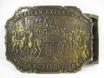 Vintage Brass American Express Co Wells Butterfield & Co Belt Buckle