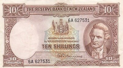 NEW ZEALAND 10 Shillings 1940-1955 BANKNOTE