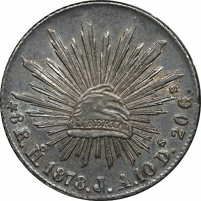 1878 Mexico Silver 8 Reales Ho J.A, KM# 377.9, Hermosillo AU, About Uncirculated