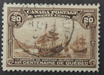 Canada #103 Used, F-VF, Quebec Tercentenary, 1907, No Tears, Thins Or Creases