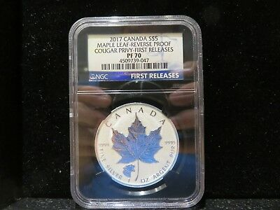 2017 Canada $5 Silver Maple Leaf Cougar Privy Reverse Proof NGC PF 70