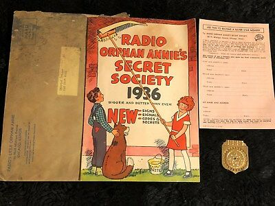 Ovaltine Vintage Radio Little Orphan Annie 1936 Secret Society Decoder, Book + m